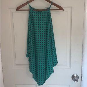💚🖤Zara Green and Black Polka Dot Halterneck Top